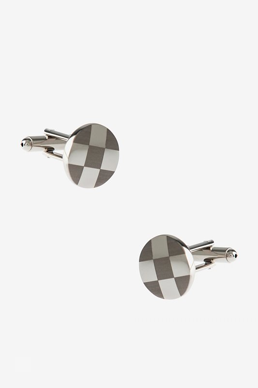 Round Monochrome Check Silver Cufflinks Photo (0)
