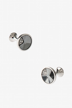 Round Quarter Peak Gem Cufflinks