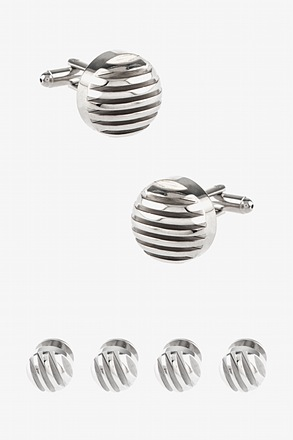 Round Raised Stripe Cufflink & Stud Set