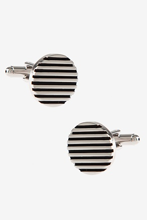 _Round Solid Striped Cufflinks_