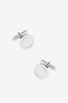 Rounded Outlines Silver Cufflinks
