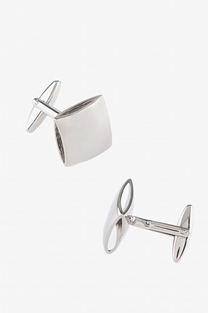 _Rounded Square Silver Cufflinks_