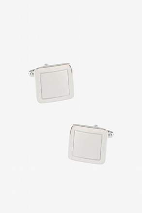 Rounded Square Frame Silver Cufflinks