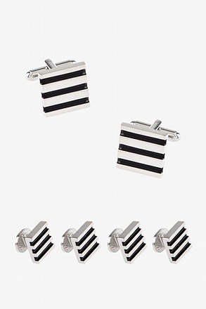 Simple Bars Cufflink & Stud Set