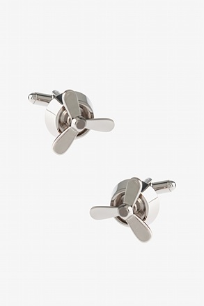 Simple Propellor Silver Cufflinks