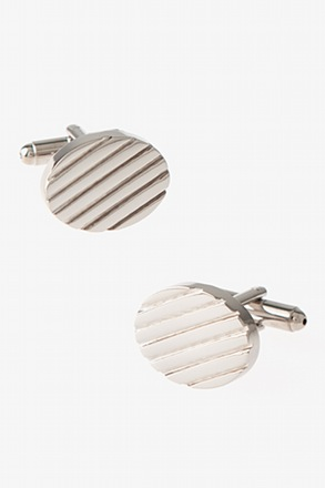 Solid Engraved Oval Silver Cufflinks