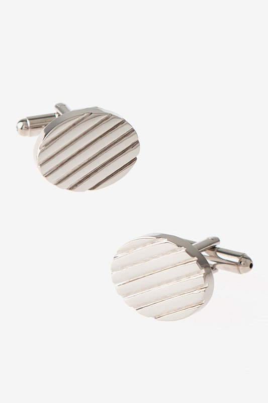 Solid Engraved Oval Silver Cufflinks Photo (0)