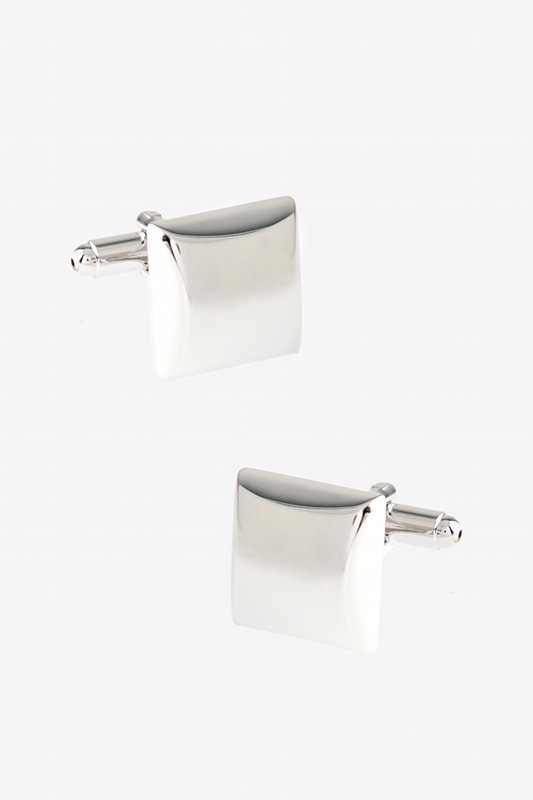 Solid Thick Square Silver Cufflinks Photo (0)