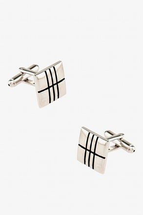 Square Crossing Silver Cufflinks