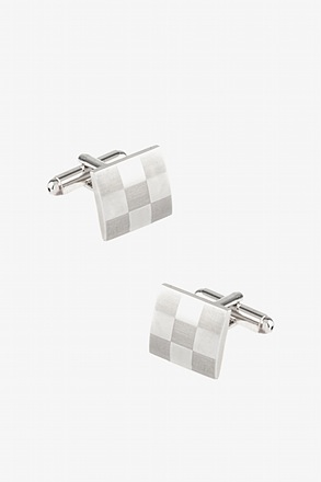 Square Monochrome Silver Cufflinks
