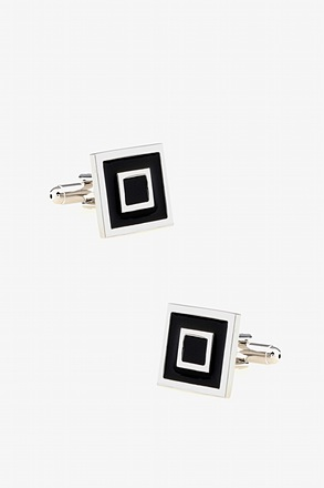 _Square Within Square Silver Cufflinks_