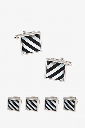 Striped Inlay Cufflink & Stud Set