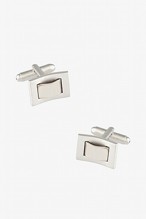 Through the Loop Rectangular Silver Cufflinks