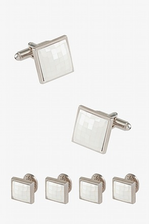 Tile Square Cufflink & Stud Set