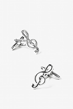 _Treble Clef Silver Cufflinks_