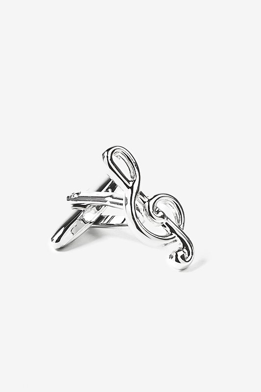 Treble Clef Silver Cufflinks Photo (1)