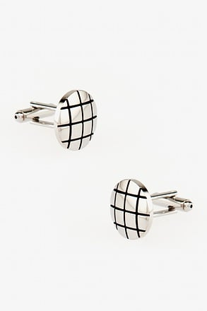 Windowpane Round Silver Cufflinks