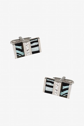 Zebra Stripe Gem Cufflinks