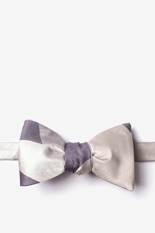 Geometric Camo Silver Self-Tie Bow Tie Photo (0)
