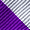 Silver Microfiber Silver & Purple Stripe Self-Tie Bow Tie
