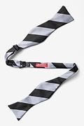 Silver & Black Stripe Self-Tie Bow Tie