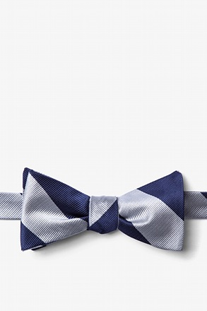 _Silver & Navy Stripe Self-Tie Bow Tie_