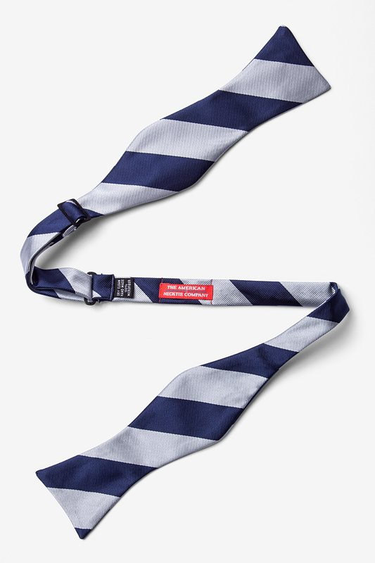 Silver & Navy Stripe Self-Tie Bow Tie Photo (1)