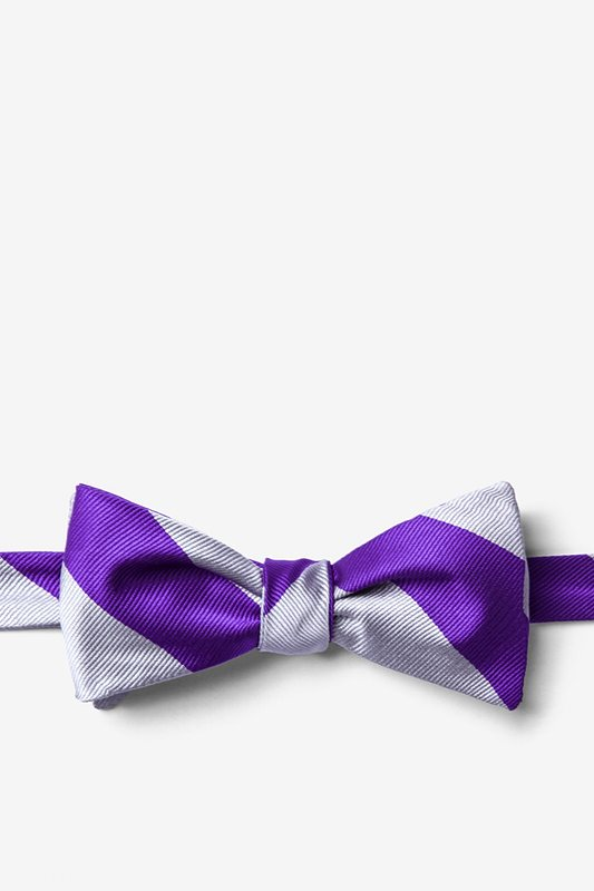 Silver & Purple Stripe Self-Tie Bow Tie