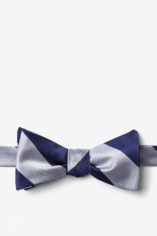 Silver & Navy Stripe Self-Tie Bow Tie