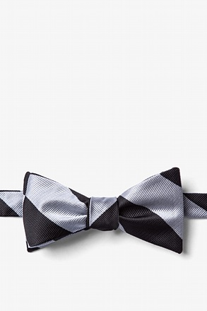 Silver And Black Stripe Butterfly Bow Tie