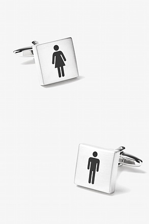_Restrooms Silver Cufflinks_