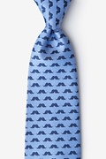 Sky Blue Microfiber Mustache Repeat Extra Long Tie