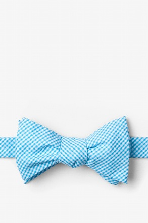 Sky Blue Chamberlain Check Butterfly Bow Tie