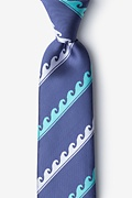 Ocean Waves Slate Extra Long Tie Photo (0)