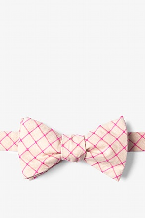 Tan Stuart Check Butterfly Bow Tie