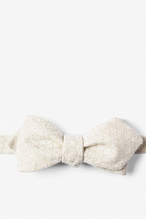 Tan Tangent Diamond Tip Bow Tie