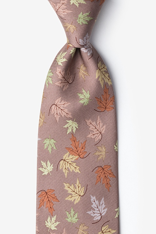 Leaves of Fall Tan/taupe Tie Photo (0)
