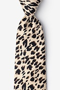 Tan/taupe Microfiber Leopard Animal Print Extra Long Tie