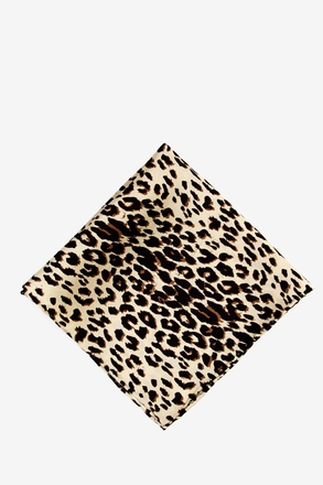 "Leopard Print 16"" Tan/taupe Pocket Square"