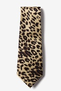 Leopard Print Tan/taupe Extra Long Tie Photo (0)