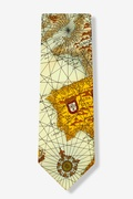 World Map Tan/taupe Tie Photo (1)