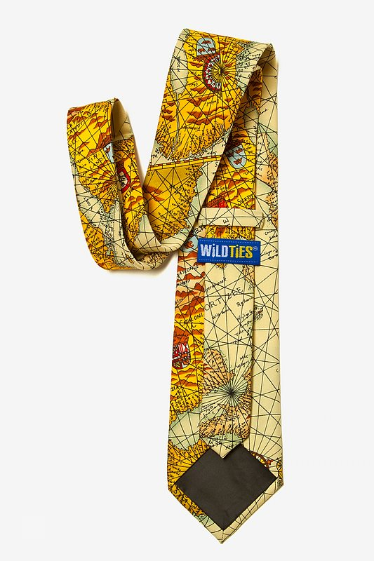 World Map Tan/taupe Tie Photo (2)