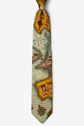 World Map Tan/taupe Tie Photo (0)