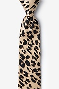 Tan/taupe Silk Leopard Print Tie For Boys