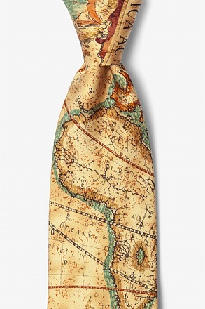 Old World Exploration Tan/taupe Tie