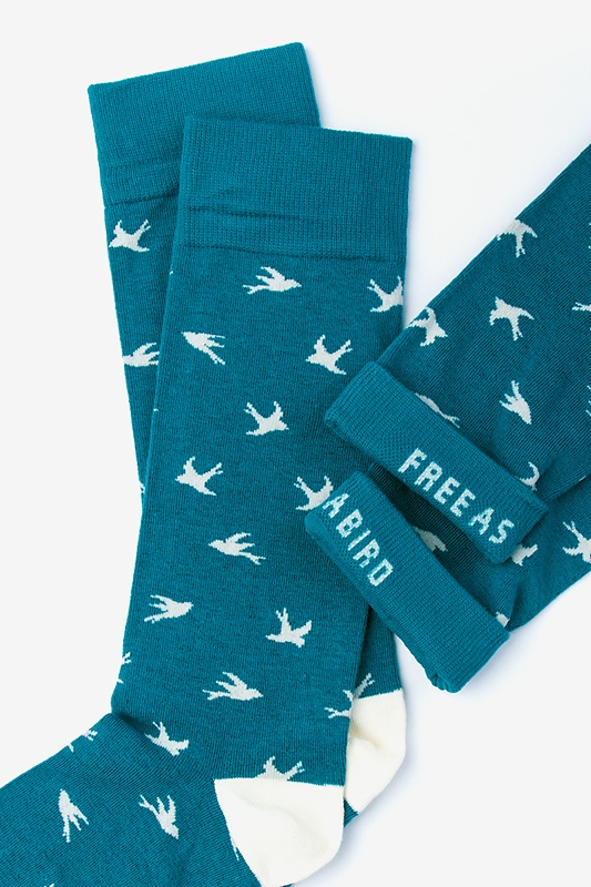 Flying Bird Teal Sock Photo (3)