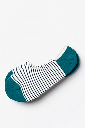 Villa Park Stripe Teal No-Show Sock