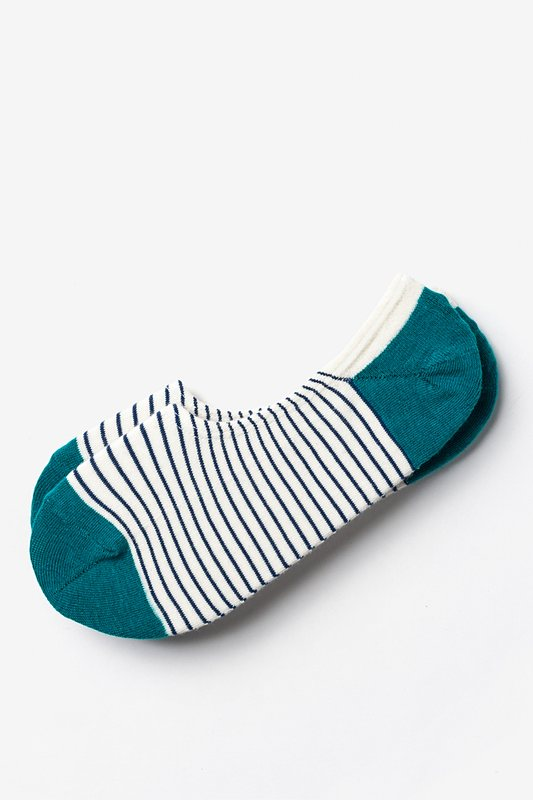 Villa Park Stripe Teal No-Show Sock Photo (0)