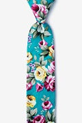 Teal Cotton Abney Skinny Tie