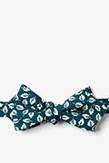 Teal Cotton Florence Diamond Tip Bow Tie